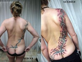 Back coverup Tribal Tattoo by 2Face-Tattoo