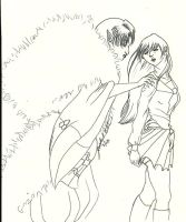 Kagome and Sesshomaru Lineart by NicolasRaine
