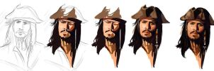 Captain Jack Sparrow - WIPs by AdoraLynn