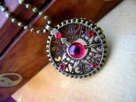 Steampunk Clockwork Gear Pendant - Evil Eye 2 by LadyPirotessa