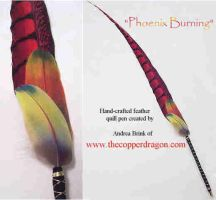 Phoenix Burning Feather Pen by TheCopperDragon2004