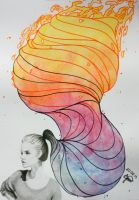 Rainbow ponytail. by iezz