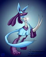 lucario with bg by pnutink
