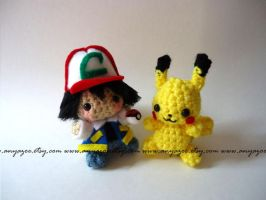 Ash and Pikachu Amigurumi by AnyaZoe