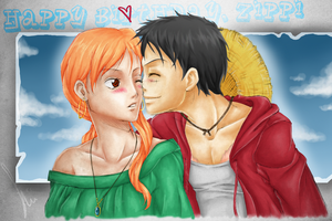 LuffyNami for Zippi - Happy Birthday by LadyTashigi