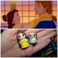 Clay Beauty And The Beast Chibis In The Making by BasicallyBella