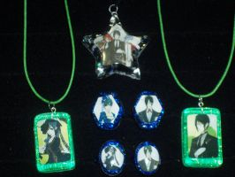 Black Butler Resin pendants and rings by TashaAkaTachi