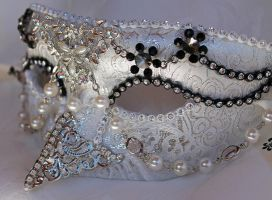 Dark Swan Brocade Masquerade Mask by DaraGallery
