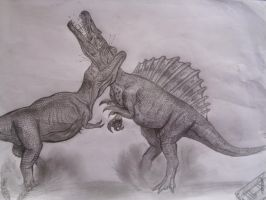 Spino vs T rex by Teratophoneus