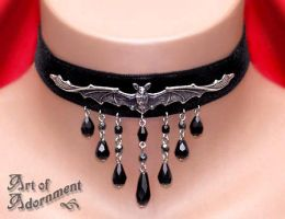 Vampire Bat Velvet Choker by ArtOfAdornment