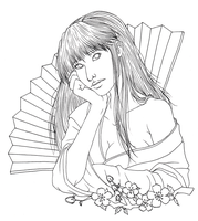 Japanese Girl Lineart by CrystallineColey