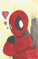 Deadpool loves his gun by AmberStoneArt