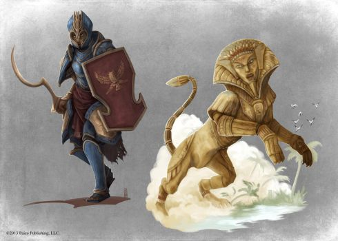 Pathfinder - Risen Guard and Sphinx by TimKings-Lynne