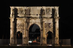 Constantine Arch by night by dcheeky
