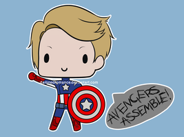 Captain America Super Chibi by DamnedRomance