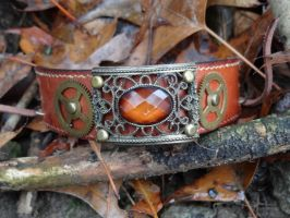 Steampunk leather bracelet by Hiddendemon-666