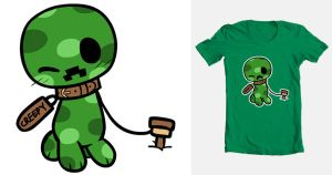 Minecraft Threadless Submission : Creeper Forever by Coffgirl