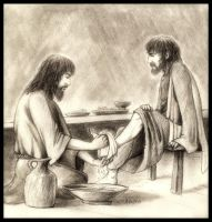Christ Washing Feet by EthalenSkye