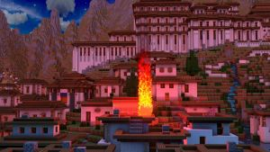 Burning Village (Fire Test) - Night Time by KingFromHatena