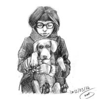 .girl with dog by Kler-z