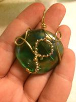 green and gold pendant by xXHallowHeartXx