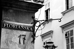 Krakow Street Sign. Monochrome by johnwaymont