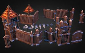 Medieval Wooden Castle 3D Low Poly by 3DGameModelsNet