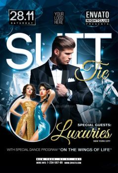 Suit and Tie Party with Special Guest Flyer by iorkdesign