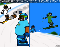 Snowboard Cross Contest 2014: Round 2 Heat 1 by BluebottleFlyer