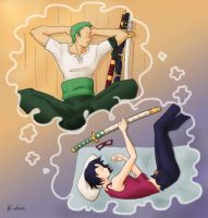 Zoro and Tashigi Dreaming by Hairasha