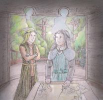 AT: Strategy Meeting in Lothlorien by Gwenniel