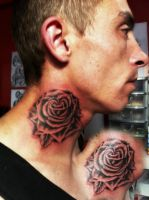 neck tattoo black rose by CalebSlabzzzGraham