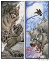 Werewolf bookmarks by Hukkanaama