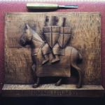 Templar horsemen woodcarving for sale by romanolsanik