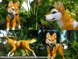 Running Latchme Wolf Sculpture by WildSpiritWolf