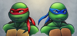 TMNT2012: Raphael and Leonardo by MissNysha