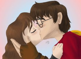 Harry and Hermione kiss bwaha by cowgirlem