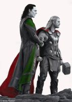 Thor and Loki by Quelchii