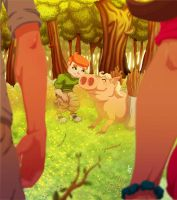 Pig in Forest by Kubekubek