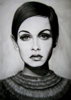 portrait drawing twiggy from khaled3ken by KHALED3KEN
