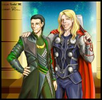 Collab: Thor and Loki Odinsnyr by Ameban