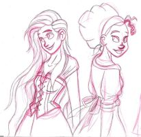 Rapunzel and Tiana -uncolored- by aurum-femina
