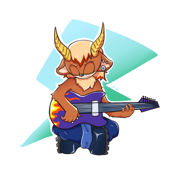 Rocky Playing the Guitar by TheDarkShadow1990