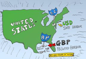editorial cartoon about gbp usd and aquatic zones by optionsclickblogart