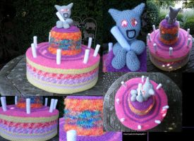 happy crocheted birthday fella by PinkuArt