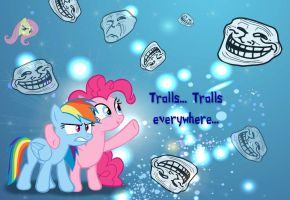 Pinkie and Rainbow: Trolls... Trolls Everywhere by Paris7500