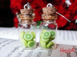 Earrings - Bottles with limes by Benia1991