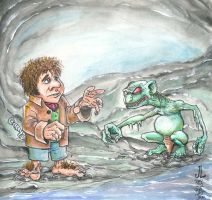 Bilbo and Gollum - JAN 2013 16 Day Art Jam by JeremiahLambertArt