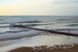 Diagonal of rocks into the sea by Jorapache