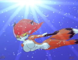 A blissful swim for a vixen... by victor639514